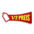 sticker preisschild 1/2 preis 1