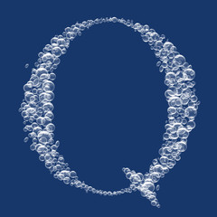 Q Letter created from bubbles in water