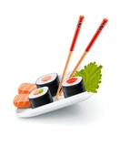 Sushi japanese food with fish and chopsticks