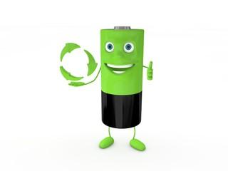 3d Rendering Batterie grün