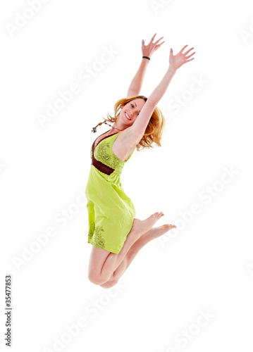 Beautiful girl jumping, isolated
