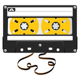 Audio black cassette with damaged tape over white
