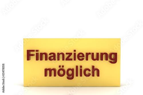 Schild Finanzierung gold