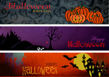Three Halloween Banners - Headers - Footers