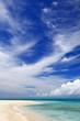 澄んだ珊瑚礁の海と夏の空