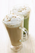 Chai and matcha latte drinks