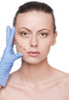 Correction lines on woman face, before surgery operetion
