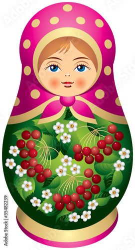 Matryoshka doll with red berries