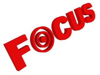 focus concept red text with target sign