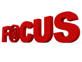 red focus text with target