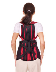 Trauma of back. Corset for posture.