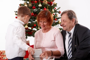 Grandparents with grandson at christmas