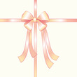Pink silk ribbon with fluffy bow