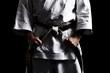 Karate, Schwarzgurt knoten vor schwarz 01 - 35488229