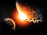 Planets in space and asteroids