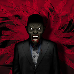Vampire businessman at lunch on red action background