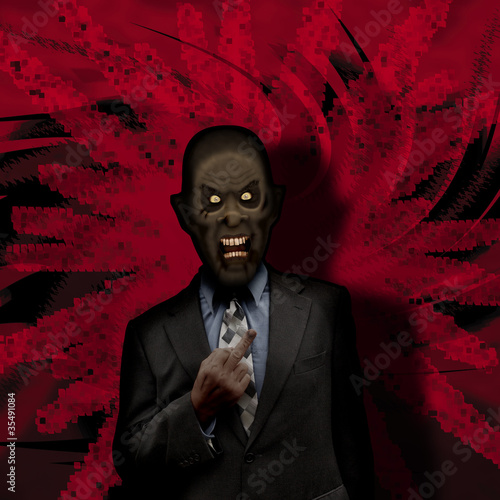 Zombie businessman with attitude on red action background