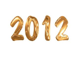 2012 doré, fond blanc