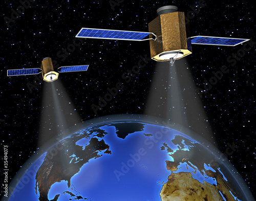 two satellites flying around earth, symbol of gps