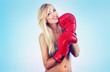 Photo of young wonderful woman wearing boxing glove