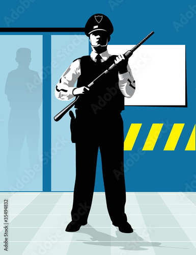 policeman with shotgun