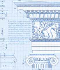 hand draw sketch ionic architectural order - blueprint