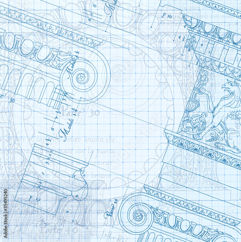 Hand draw sketch ionic architectural blueprint