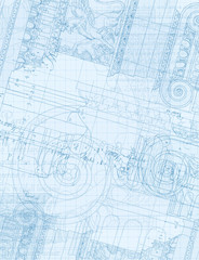 Architecture Blueprint - Hand draw sketch ionic order
