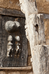 Typical door of Dogon granary, Mali (Africa).