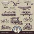 vintage means of transportation (2) - set of design elements