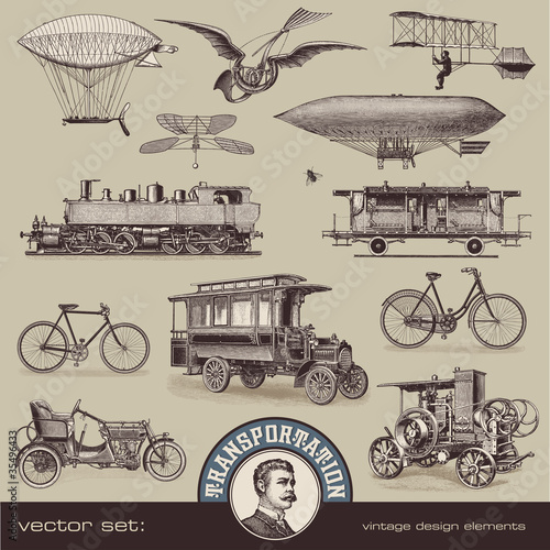 vintage means of transportation (2) - set of design elements