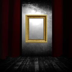 Sipario, palcoscenico, teatro, cornice dorata