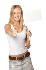 Young blonde holding blank white flag / board sign
