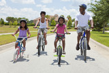 Fototapety African American Family Parents and Children Cycling