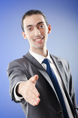 Young businessman in studio shooting