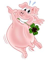 Tänzelndes Glücksschweinchen