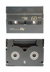 The two sides of mini DV cassette closeup