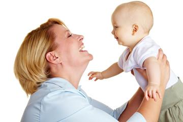 Mutter hat Spaß mit Baby
