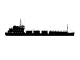 Silhouette of the ship of the barge with fire wood