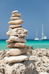 Stack of pebbles on the beach.