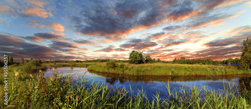 Leinwandbild Motiv Decline over the river Berezina, Belarus