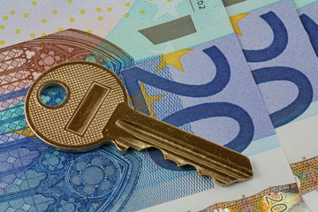 euro note and key