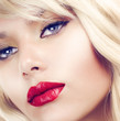 Beautiful Blond Woman Portrait. Hairstyle. Makeup