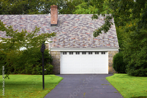 Typical Suburban Driveway and Attached Garage