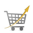 shopping cart with an arrow pointing up