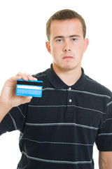 Man with a debit card on a white background.