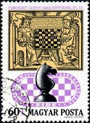 Partie d'échecs. Timbre postal, Hongrie.