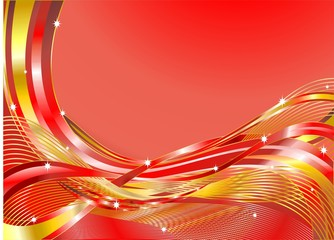 Onde Astratte Sfondo Rosso-Red Abstract Waves-Vector