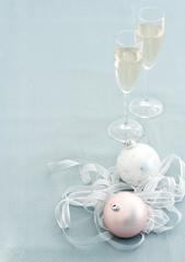 Christmas balls and champagne glasses