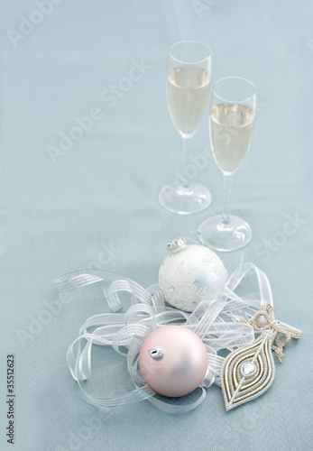 Christmas balls and champagne glasses